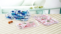 100% food safe ps acrylic fruit tray/plate with handle