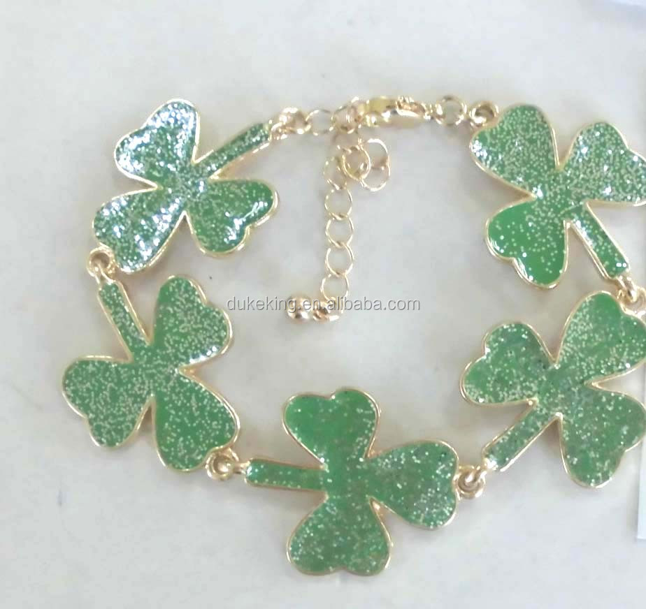 Wholesale Girls Gold Bracelet with Green Epoxy
