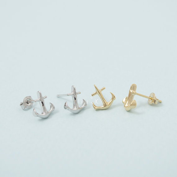 2016 Gold Silver Tiny Anchor Stud clip earring holder backs