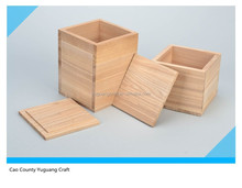 Set of 2 handmade wooden square tea boxes craft blanks for decoration