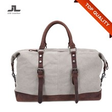 Wholesale Vintage Leather Handle Canvas Mens Weekend Travel Duffle Tote Bag