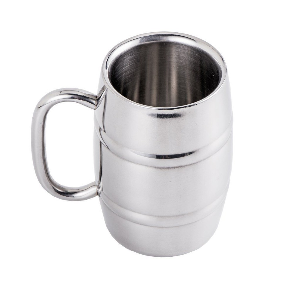double wall stainless steel wine beer cup with hand shank