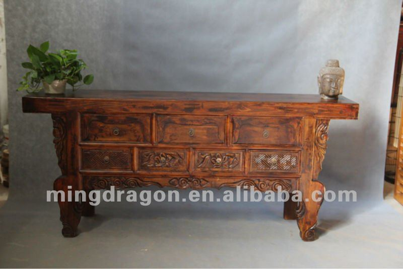 Chinese antique furniture pine recycle wood Shanxi natural wood color seven drawer alter TV table