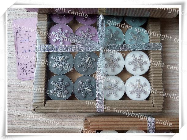 wholesale china factory chirstmas decora snow flake tealight candles