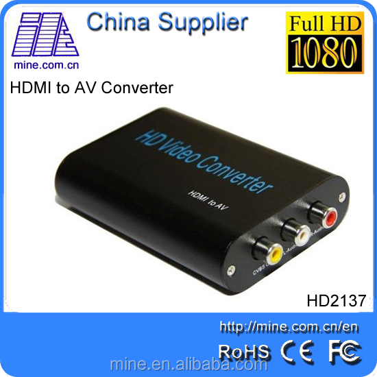 China manufacturer HDMI to AV Converter Supports NTSC and PAL TV Formats 1080P