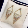 Votage Geometric Crystal Gold Tassel Earrings, Full Diamond Gold Silver Tassel Earrings