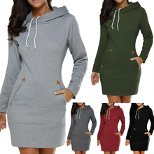 Women Plain Warm Casual Long Sleeve Pullover Hoodie Dress
