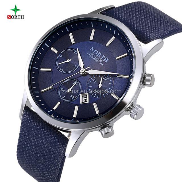 2018 Wholesale North Brand Luxury Mens Watch Waterproof Fashion Sport Quartz Wristwatch Male Leather Man Watch