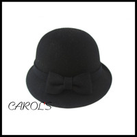 wool felt hat wholesale black hat with bowknot flower cloche hat for lady traditional church hat
