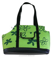 Green Promotional portable pet carrier, zip closed dog cosy carry bag