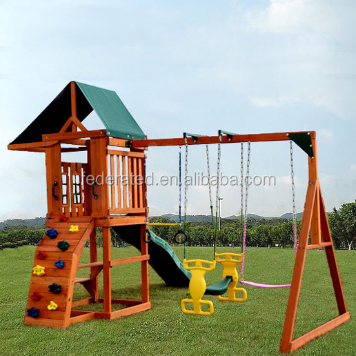 wooden playhouse swing set playground equipment
