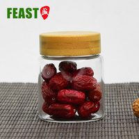 150Ml Borosilicate Glass Wooden Lid Glass Spice Jar Small 4Oz With Suction Seal Lid
