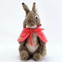 Super soft long fabric stuffed brown rabbit with red cloak for children