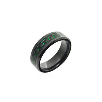 New style low price Tungsten Steel Ring Green carbon fiber Inlay carbide Ring