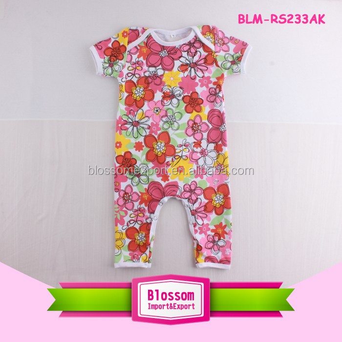 Top sale Cotton Summer Short Baby Bodysuit Floral Rompers Plain Baby Bodysuit