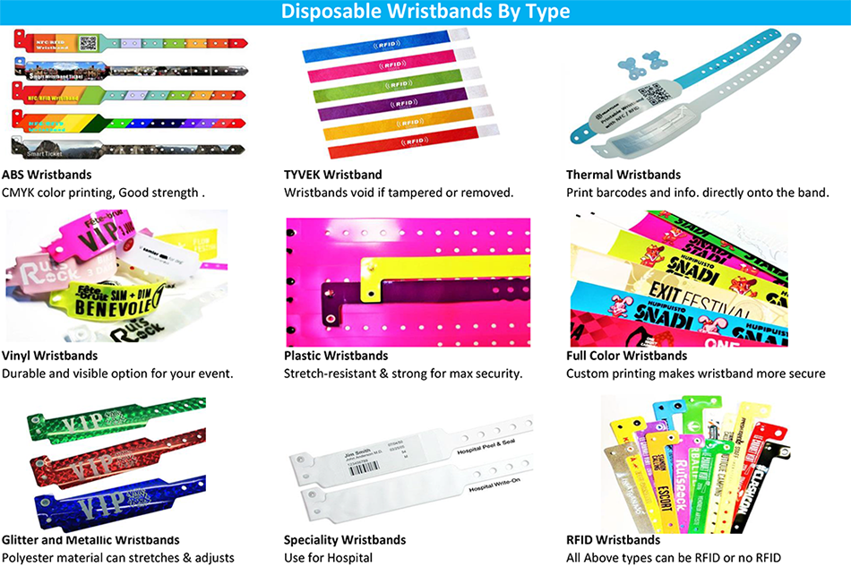 Custom MIFARE Classic Mini Disposable Compound Plastic RFID Wristbands