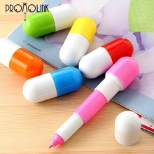 wholesale supply 2015 promotion custom logo pill shape pen for student prize