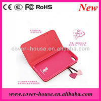 2013 Cherry Series leather case Wallet with card holder case for iPhone 5