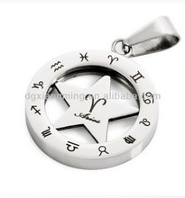 "Men's Stainless Steel ""Aries"" Zodiac Constellation Zodiac Sign Pendant Necklace"