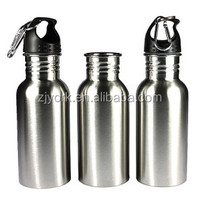 Durable 500ML High Quality Stainless Steel Wide Mouth Water Bottle With Carry Outdoor Carabiner Sporting Water Bottle Water Cup