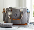 2017 cotton twill fabric classic baby love diaper bag with leather trim changing mat