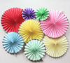Mixed color Pastel Pinwheel Decorations - gold rim wall hanging decor craft paper fan 8 pack