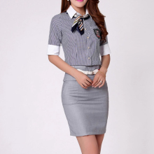 2018 New Arrivals Stand Collar Neck Striped Blouse Formal/Mature Short Skirt Office Ladies Suit Design
