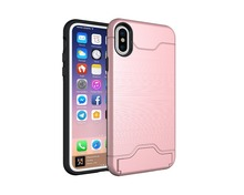 2017 Metal Hard Fiber Brushed Hybrid TPU + PC Cover Case With Card Slot Kickstand for iPhone x For iPhone 8