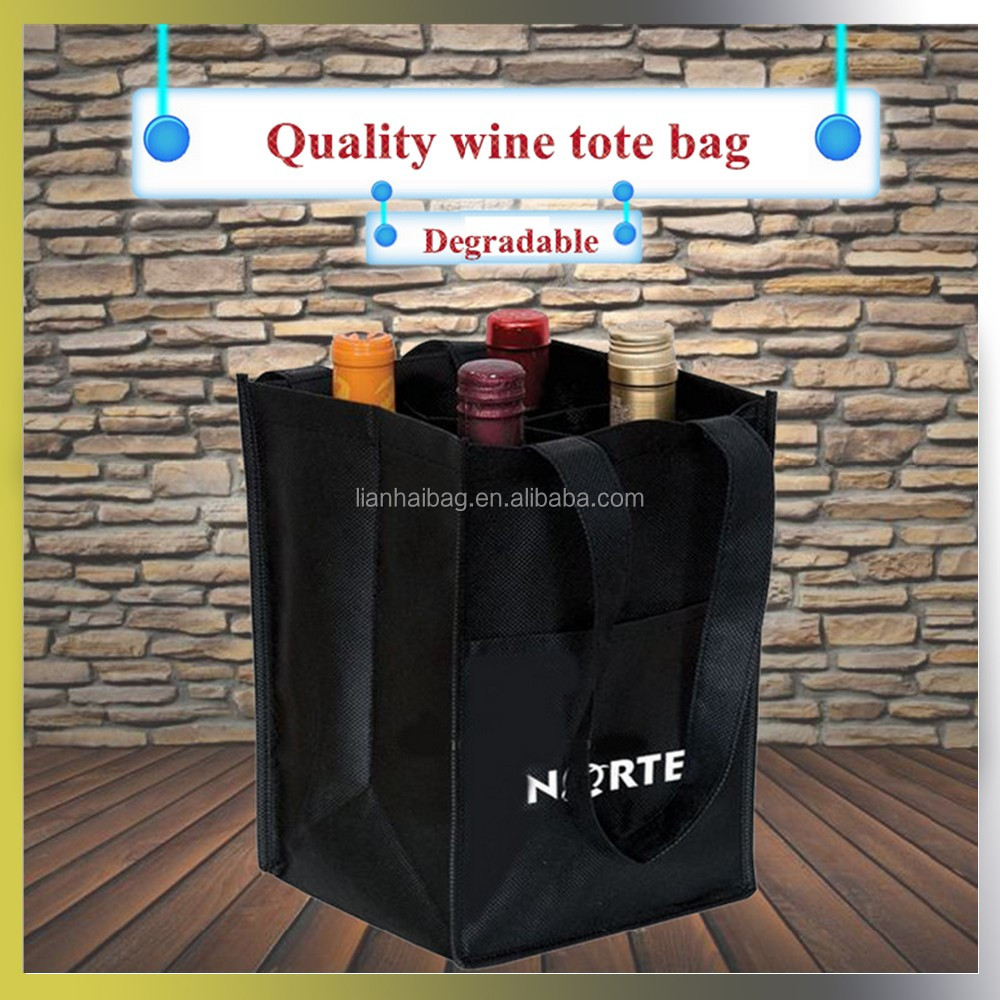 2016 new 4 bottles Eco-friendly Degradable non-woven wine tote bag
