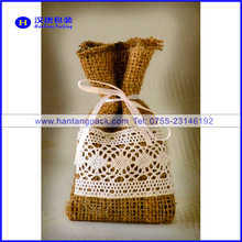 best selling wedding gift packing jute pouch with lace