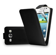 Black leather flip case cover for samsung galaxy fame S6810