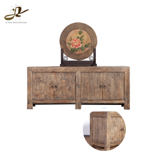 Classic furniture old pine wood four doors bedroom sideboards for wine cabinet
