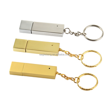 New hot sale gold metal usb flash drive with rings key chian ,support 2.0 and 3.0