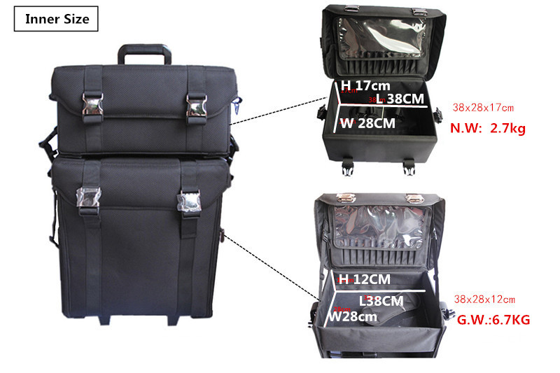 2 in 1 Unitized Black Oxford Fabric Nylon Makeup Trolley Case