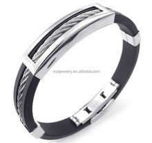 Mens Rubber Stainless Steel Bracelet, Classic Bangle Black Silver (MA020305)