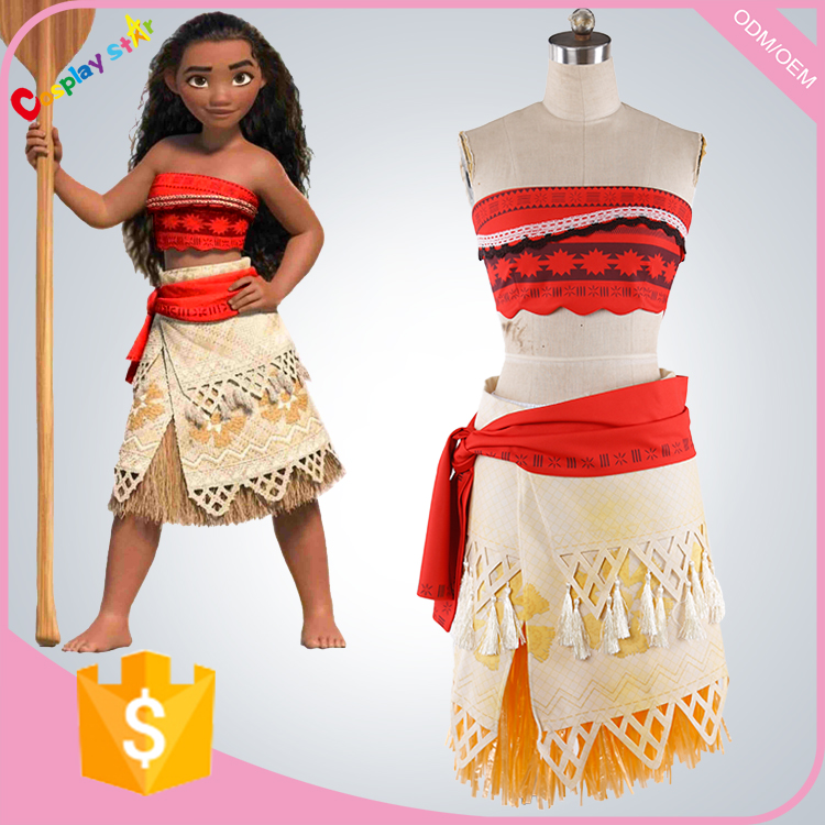 Newest movie Moana sexy cosplay costume Waialiki costumes for adult women sexy princess Moana costume suit for kid custom made