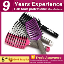 OEM beauty salon plastic natural vent curved comb boar bristle hair brush