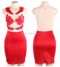 Red flower sizzling floral lace bodice women mini tight dress new style