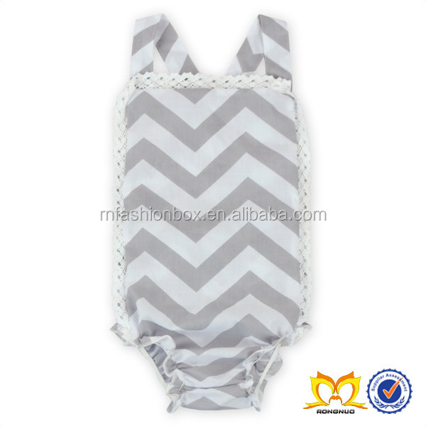 Hot Sale Grey Chevron Halter Rompers Baby Girl Baby Lace Romper Newborn Baby Clothes Romper