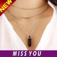3 layer chain layered bullet shape diamond pendant necklace