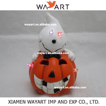 2015 Hot sale Friendly craft Resin Pumpkin with Led light Halloween Decoration