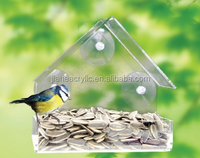 house shaped Clear acrylic window bird feeder /cage