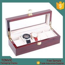 Tonvic Factory Wooden 5 Slots Watch Travel Display Case For Men