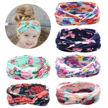 Baby Girls Newborn Flowers Print Hair Band Accessories Soft Elastic Floral Headband For Child