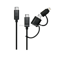 high quality 3 in 1 usb data charger cable wholesale China for iphone, USB Type C 3 in 1 cables
