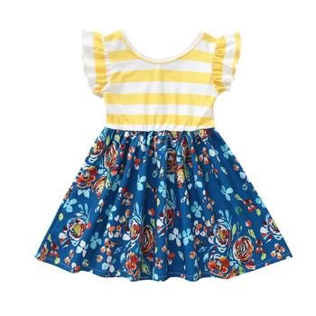 Printed girl's skirt with rounded collar o-neck and stripesSummer kids dresses baby girls dresses for kids set wear
