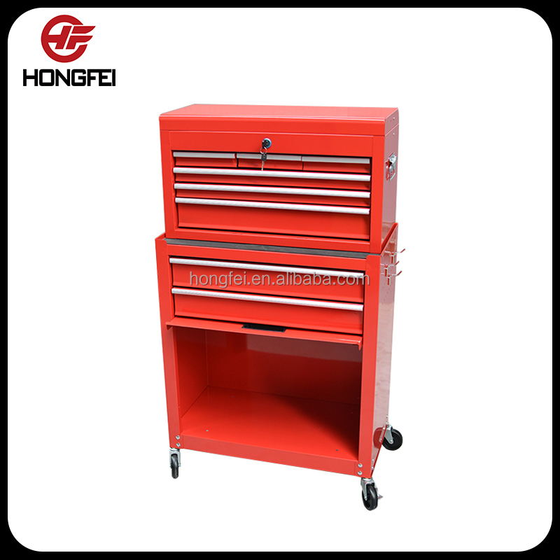 High quality ease moving ball bearing slide cold steel metal tool box with wheels