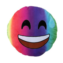 Stuffed emoji kiss love heart smile face yellow round cushion pillow
