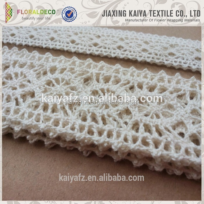 Pretty decoration cotton material cheap white double edged lace