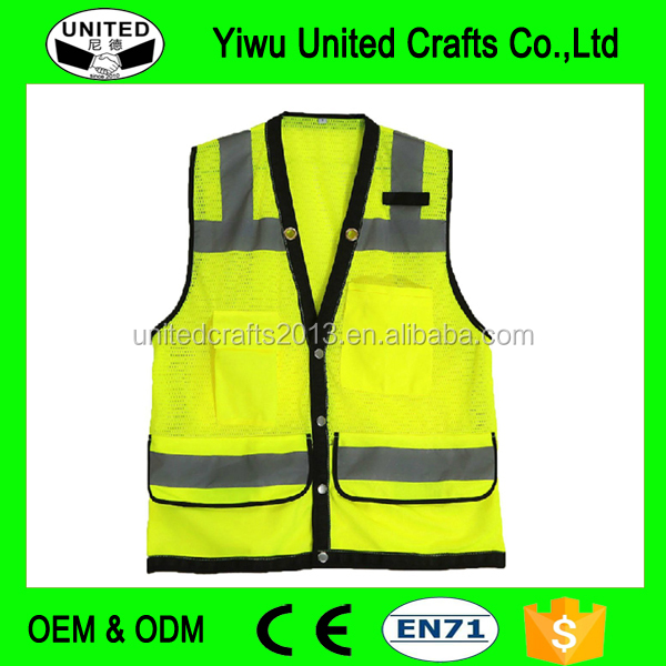 Manufactory supply Safety Vest For Men, USA ANSI/ISEA 2010 standard, Mesh and T/C reflective tapes, 25times wash, Zip Fasten